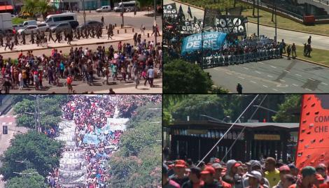 Piqueteros realizan un corte total y protesta en Avenida de Mayo y 9 de Julio