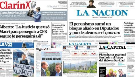 El espaldarazo de Alberto Fernández a Máximo Kirchner, en las tapas de los diarios argentinos